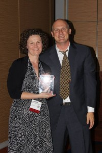 Amanda Thompson Rundahl accepts the Silver MUSE Award at the 2013 American Alliance of Museums Annual Meeting in Baltimore, MD.
