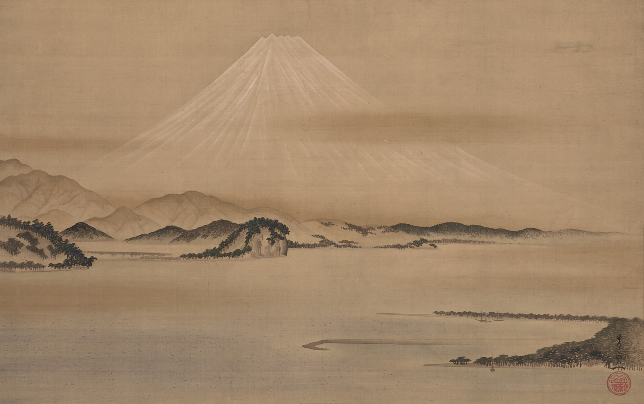 Mount Fuji from Miho-no-matsubara, early 19th century  Suzuki Kiitsu, 1796–1858  Ink and color on silk  The John R. Van Derlip Fund; purchase from the collection of  Elizabeth and Willard Clark 2013.31.29