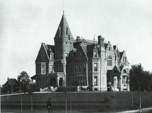 William Washburn House, Southeast from Twenty-Second Street and Stevens Avenue, 1886. The mansion was the largest in Minneapolis at this time. Photo: Larry Millett from Lost Twin Cities.