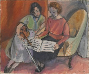 Henri Matisse, The Music Lesson, Two Women Seated on a Divan, 1921 Oil on canvas, The Cone Collection, formed by Dr. Claribel Cone and Miss Etta Cone of Baltimore, Maryland, BMA 1950.242, © 2013 Succession H. Matisse / Artists Rights Society (ARS), New York.