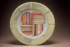 Walter Ostrow, Platter with Byzantine Flowers, 2006, Wheel-thrown and altered, local clay, Neo-majolica, cone 04, 40 cm